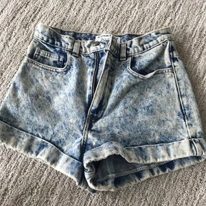 American Apparel high wasted acid wash jean short